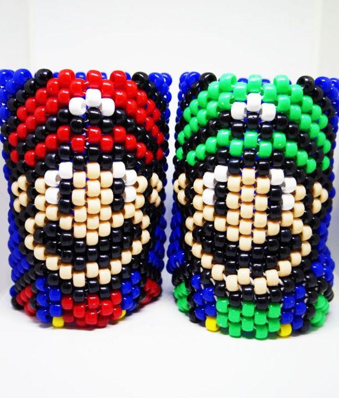 Mario and Luigi Kandi Cuff Bracelets by BNWArt - Kandi