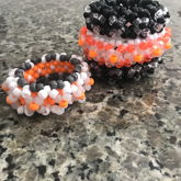 2pc Orange & Monochrome 3D Kandi Cuff And Rotating Cuff