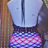 Black, Purple, & Pink Over Bust Kandi Corset (back View)