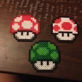 Set Of 8 Mario Mushroom Perlers 2