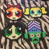 Set Of 4 Power Puff Girl Keychains 1