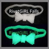 White Glow-in-the-Dark Kandi Bow Tie Garter Belt By RivetGiRL Falls