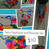 Tetris Necklace And Bracelet Perlers