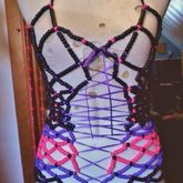 Black, Purple, & Pink Over Bust Kandi Corset (front View)