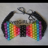 Glitter Rainbow (Black) 3D Kandi Bow Tie By RivetGiRL Falls