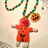 Jack-o'-Lantern Sock Monkey Necklace
