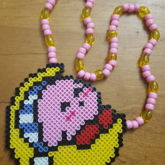 Sleepy Kirby Perler Necklace