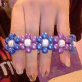Purple And Blue Flower Cuff
