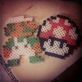 Luigi And Power Mushroom Perlers