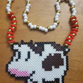 Cute Cow Perler Necklace