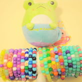 20 Sweet Single Kandi Bracelets With Froggy Teacup Animal Toy