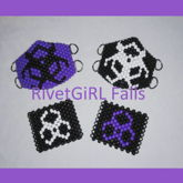 Matching Purple, Black, & White Biohazard Kandi Masks & Bracelet Cuffs Made By RivetGiRL Falls