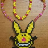 Happy Bunny Perler Necklace
