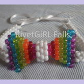 Glitter Rainbow (White) 3D Kandi Bow Tie By RivetGiRL Falls