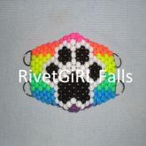 Rainbow Paw Print D-Ring Surgical Kandi Mask