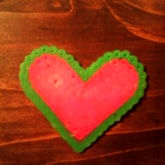 Perlerbead Green And Pink Heart