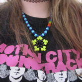 Black And Yellow Star Light Blue And Dark Blue And Rainbow On One Side Necklace
