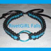 Blue/Black O-ring Choker Collar Bondage Necklace