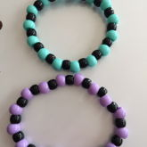 Large Pastel Beads With Black Pony Beads Singles