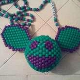 Green And Purple 3D Deadmau5 Kandi Head